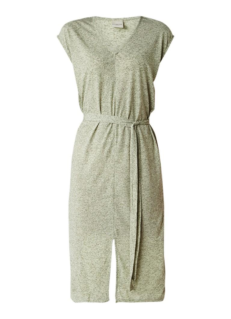 Selected Femme Ivy midi-jurk met strikceintuur groen