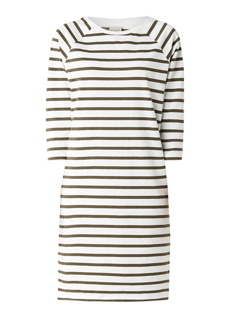 Selected Femme Natali jersey jurk met streepdessin mosgroen