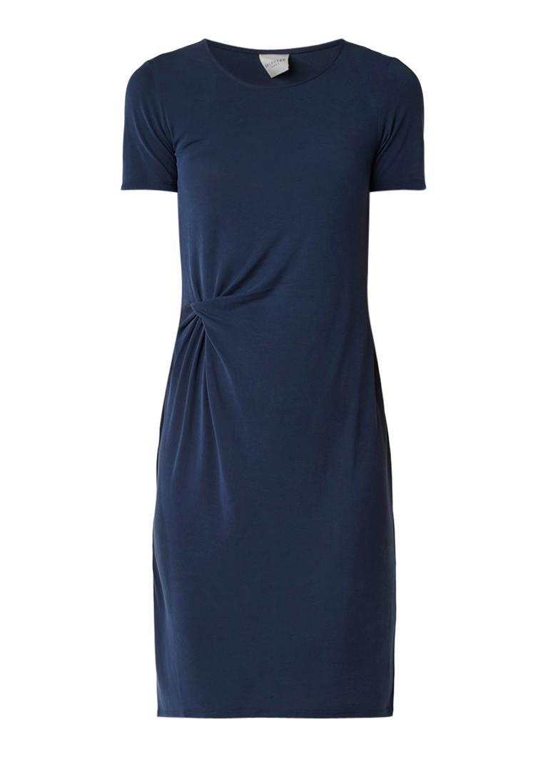 Selected Femme Vivi jersey jurk met draperie blauw