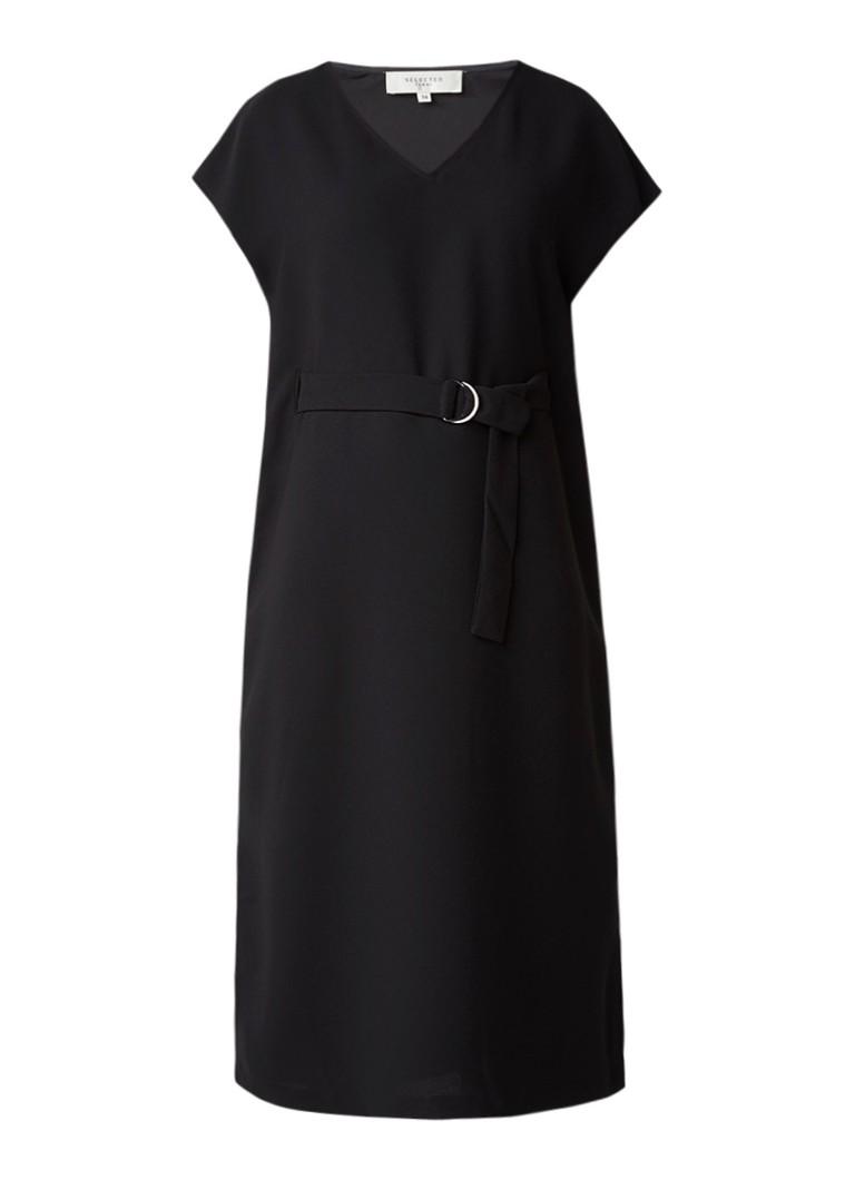 Selected Femme Newa midi-jurk met ceintuur en split zwart