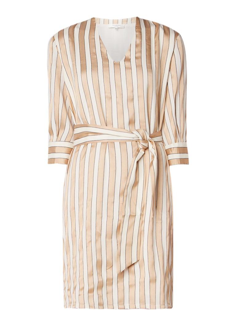 Selected Femme Jadine midi-jurk met streepdessin en strikceintuur ivoor