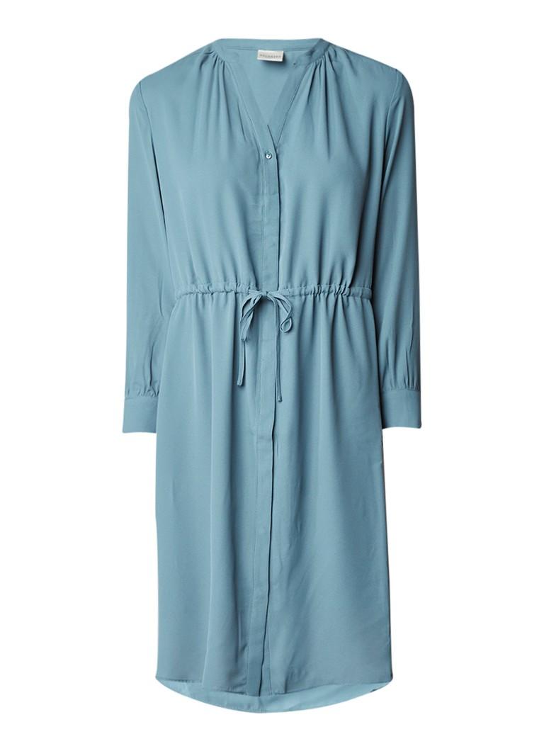 Selected Femme Damina blousejurk van crêpe met taillekoord blauw