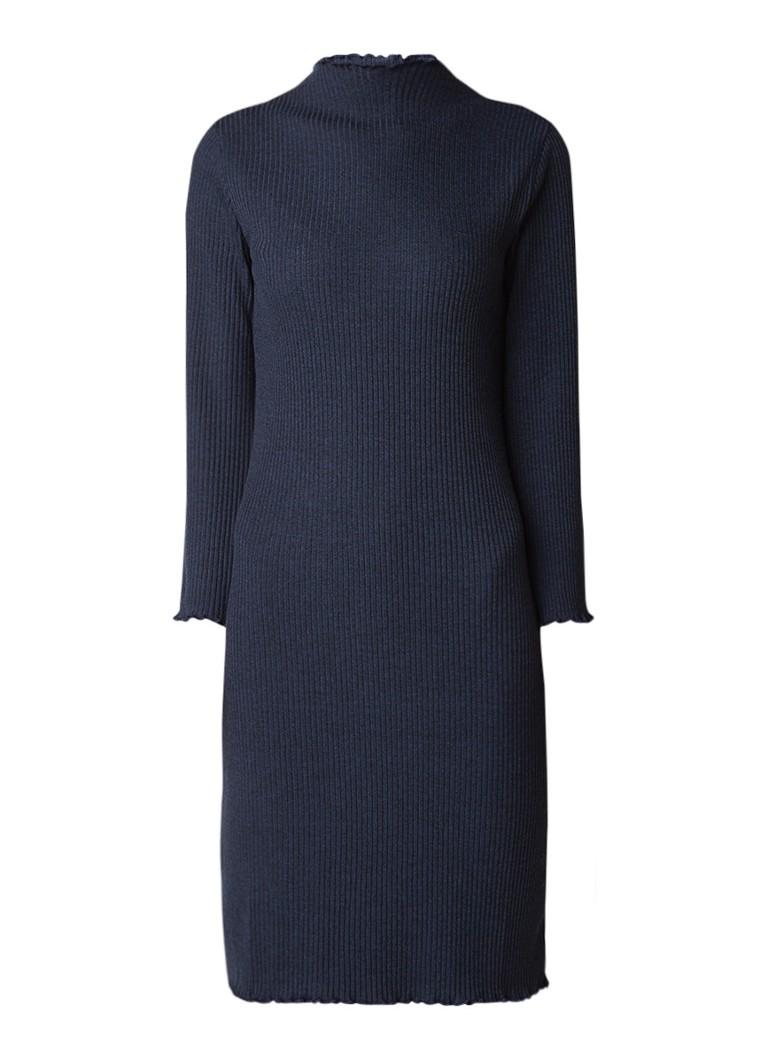 Selected Femme Hamina ribgebreide jurk met golvende zoom indigo