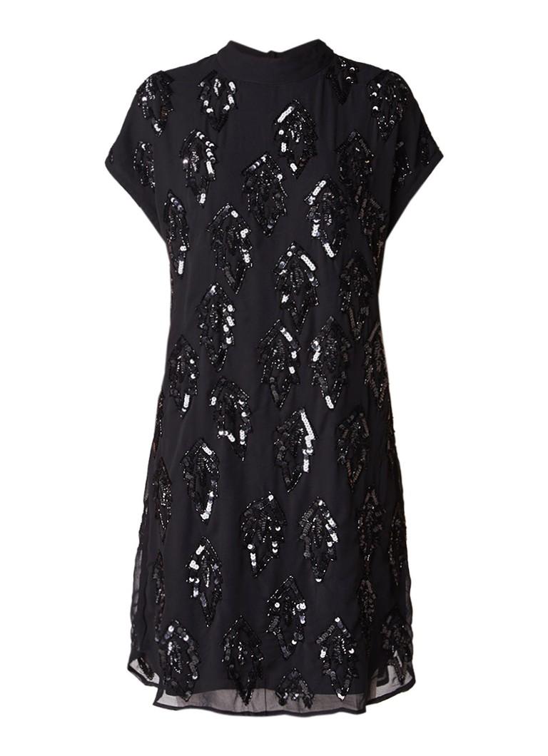 Selected Femme Linnea jurk met pailletten en kralen zwart