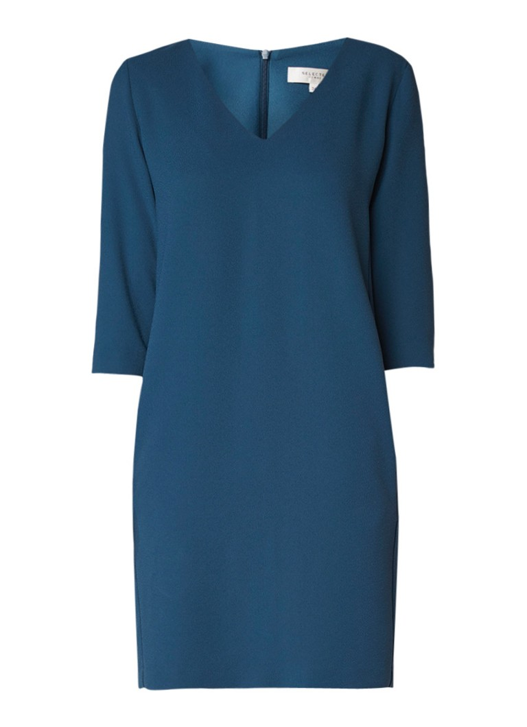 Selected Femme Tunni jurk van crêpe met V-hals staalblauw