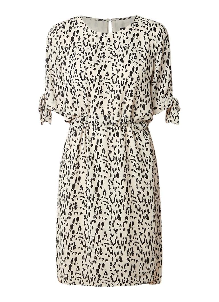 Selected Femme Ness tuniekjurk met luipaarddessin en strikdetail zand