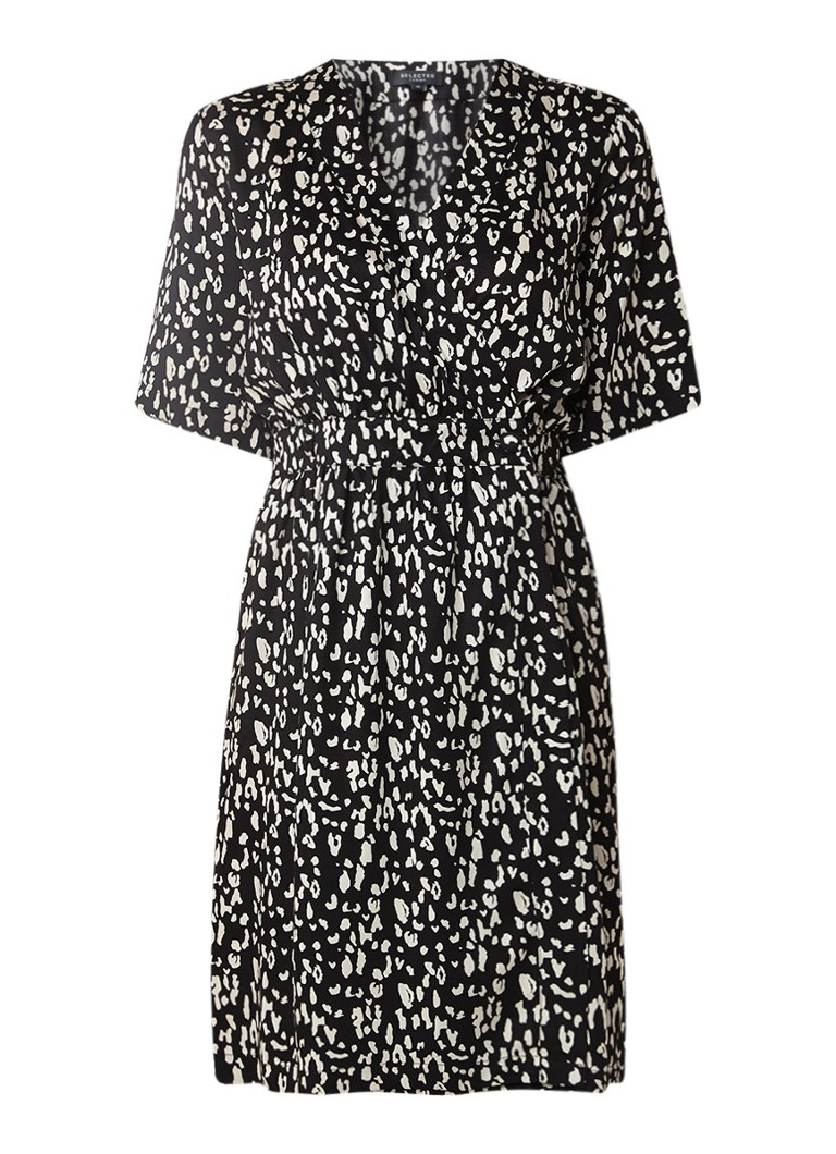 Selected Femme Sand tuniekjurk met overslag en luipaarddessin zwart