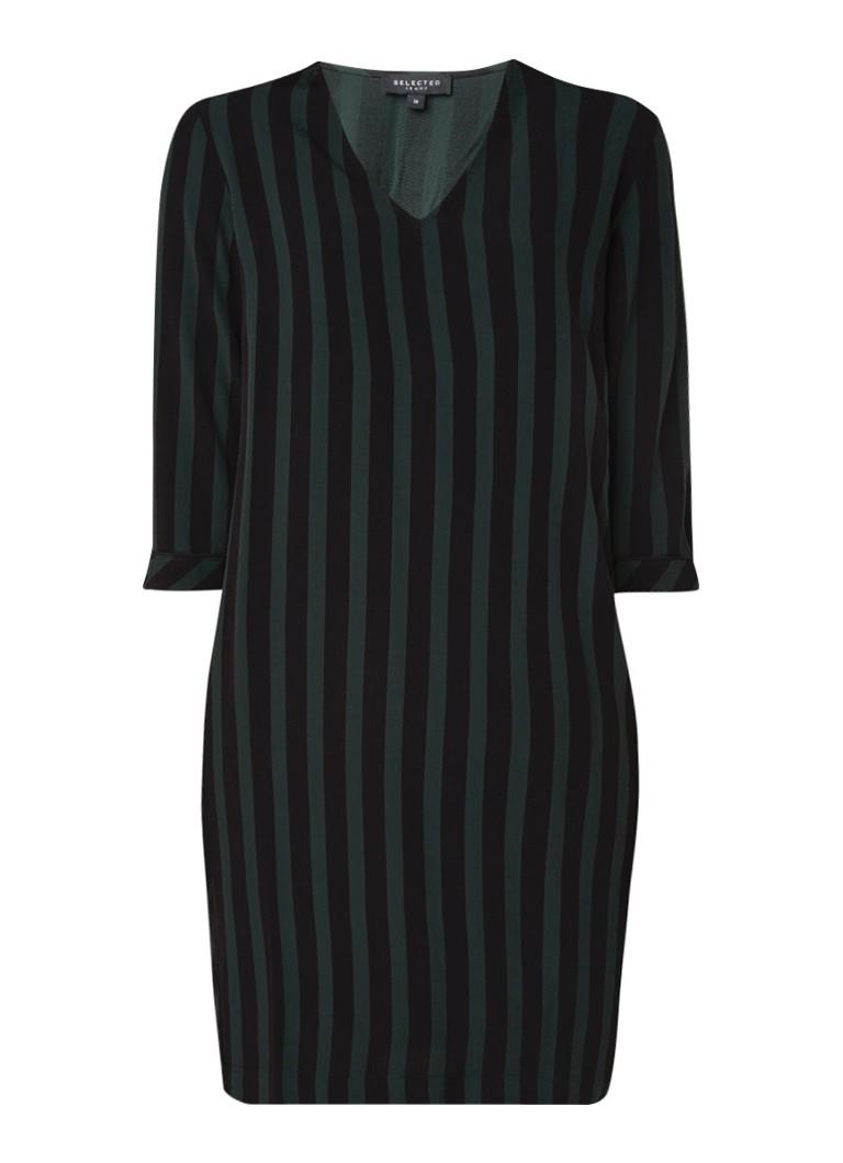 Selected Femme Florenta tuniekjurk met streepdessin en strikceintuur donkergroen