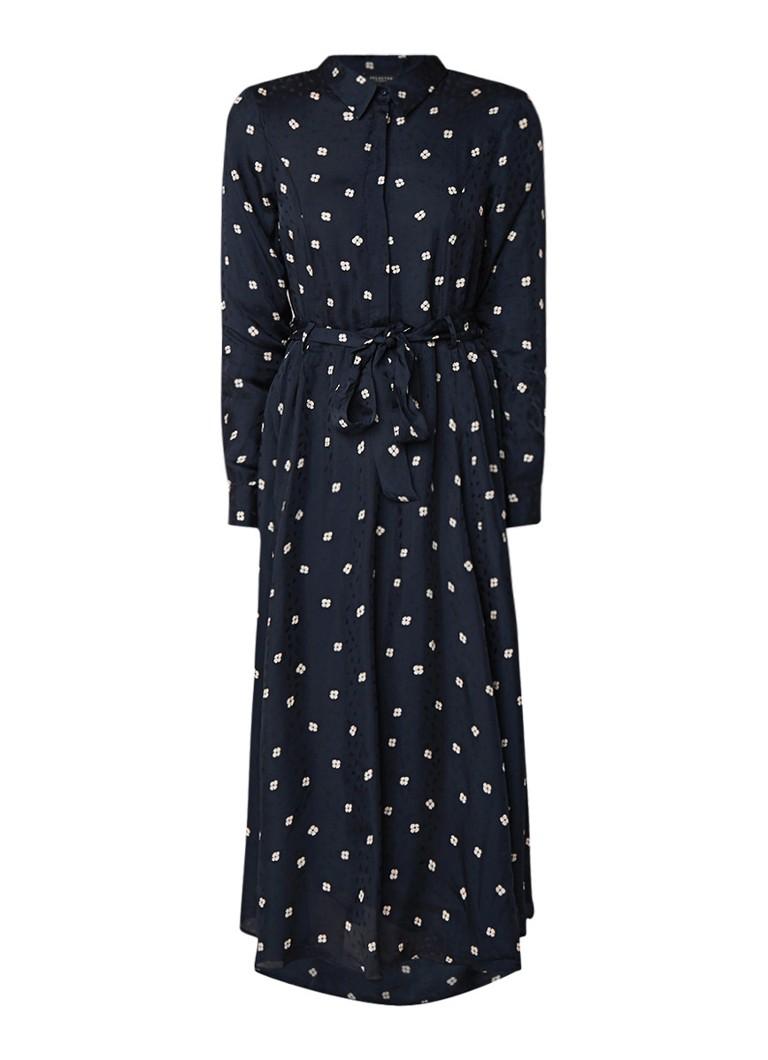 Selected Femme Falima maxi-jurk met bloemendessin en strikceintuur donkerblauw