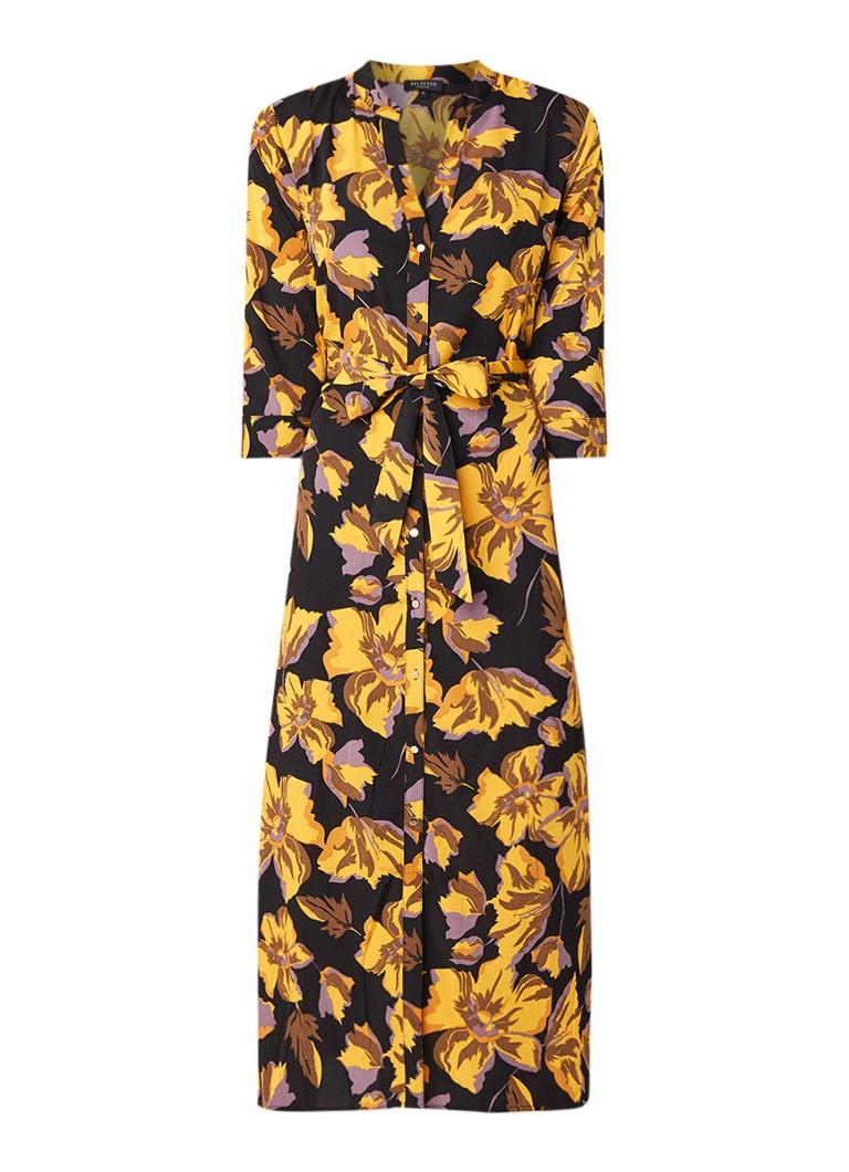 Selected Femme Florentina blousejurk met bloemendessin en strikceintuur geel
