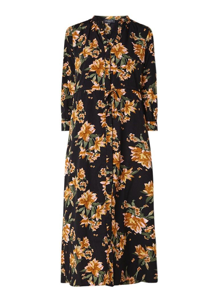 Selected Femme Damina maxi blouse-jurk met bloemendessin zwart