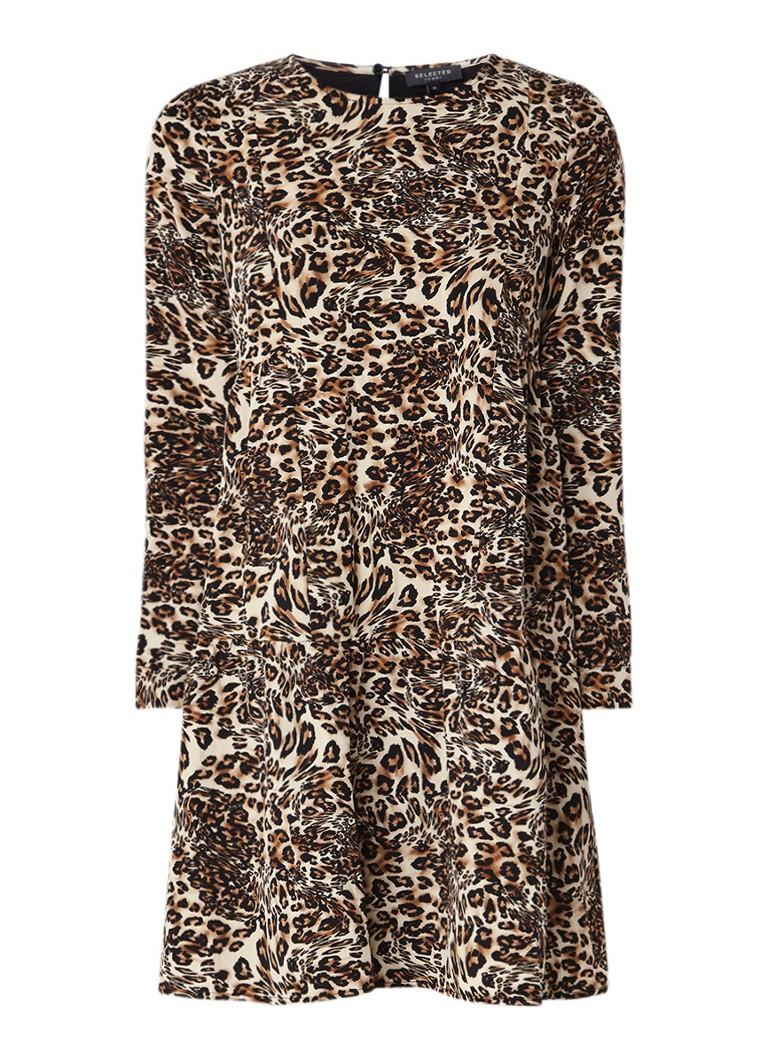 Selected Femme Alberte A-lijn jurk met luipaarddessin donkerbeige