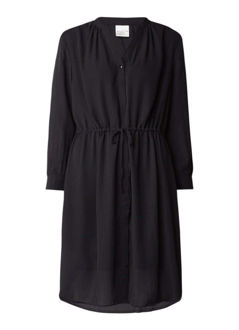 Selected Femme Damina blousejurk met tunnelkoord zwart