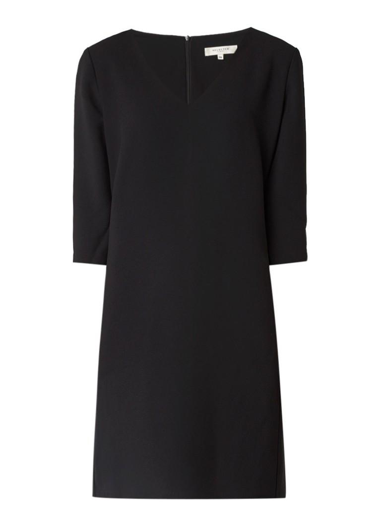 Selected Femme Tunni mini-jurk van crêpe met V-hals zwart