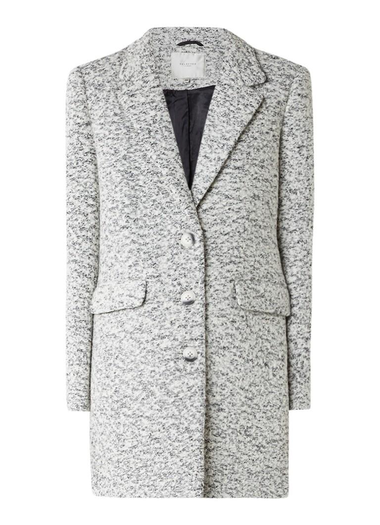 Jassen Selected Femme Faber gemêleerde mantel in wolblend met klepzakken Wit