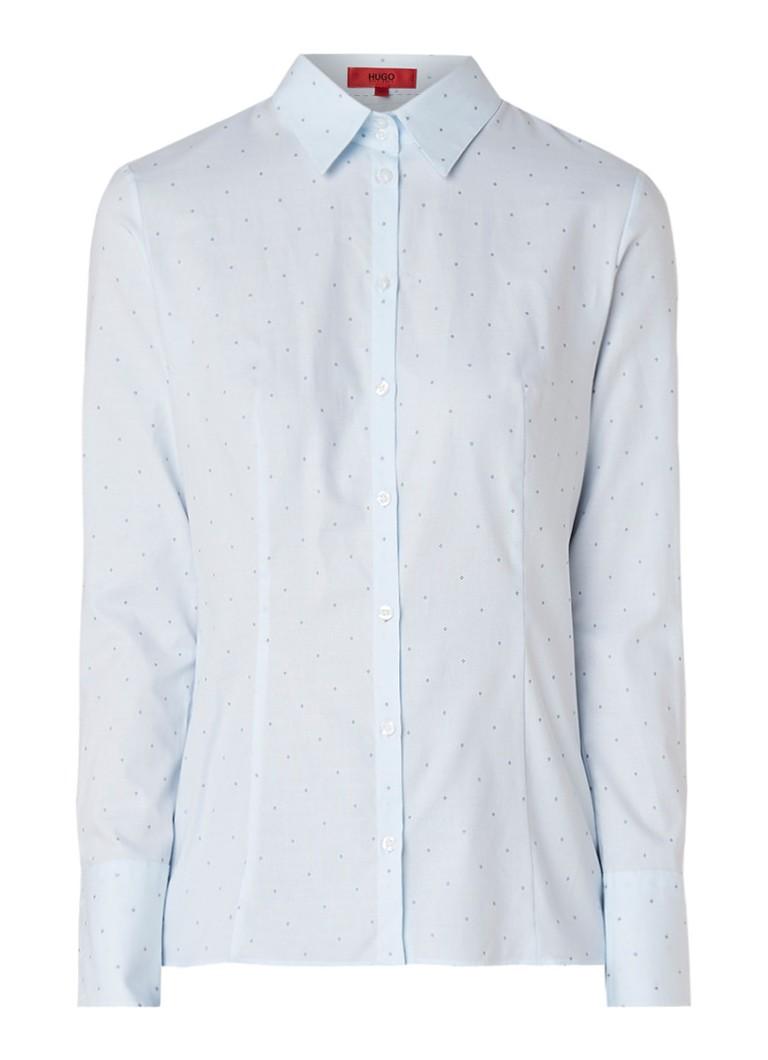 HUGO BOSS Etrixe blouse van katoen met microdessin