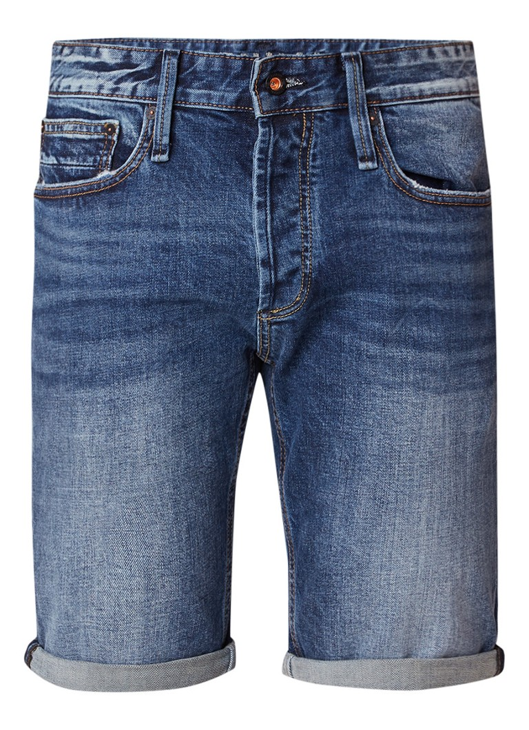 Denham Razor straight fit denim short met verwassen look