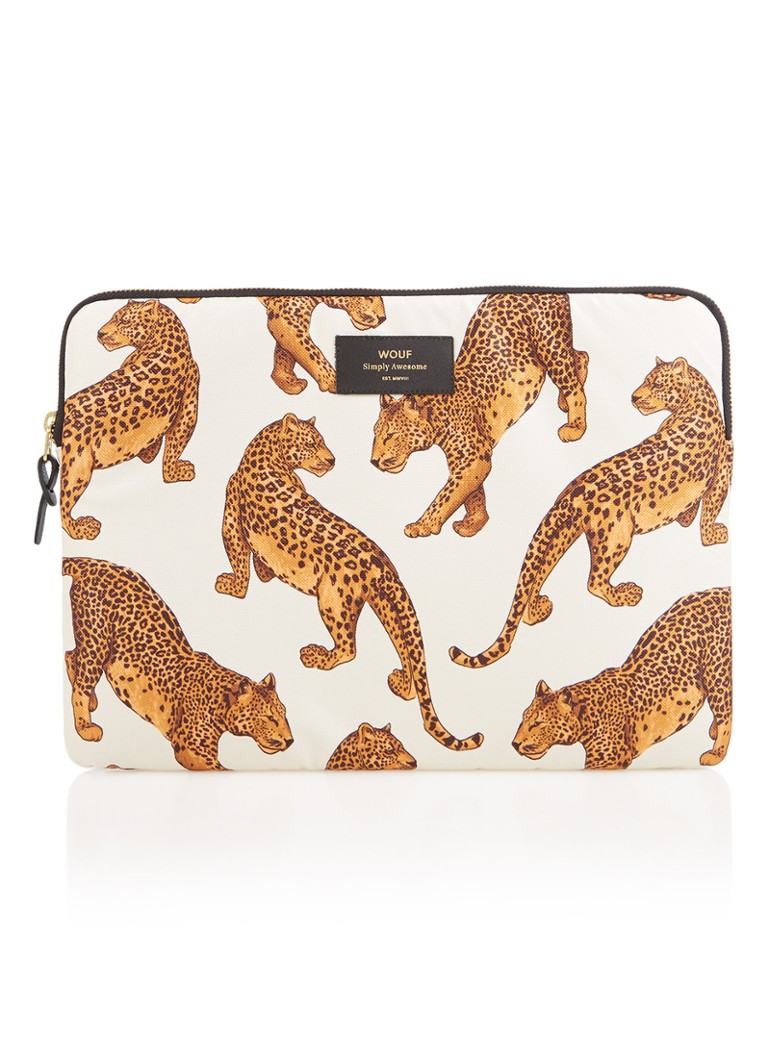Image of Wouf Leopard laptophoes met dessin 13 inch