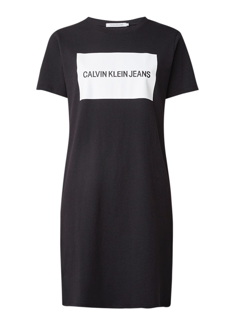 Calvin Klein Insitutional T-shirt jurk met logoprint zwart