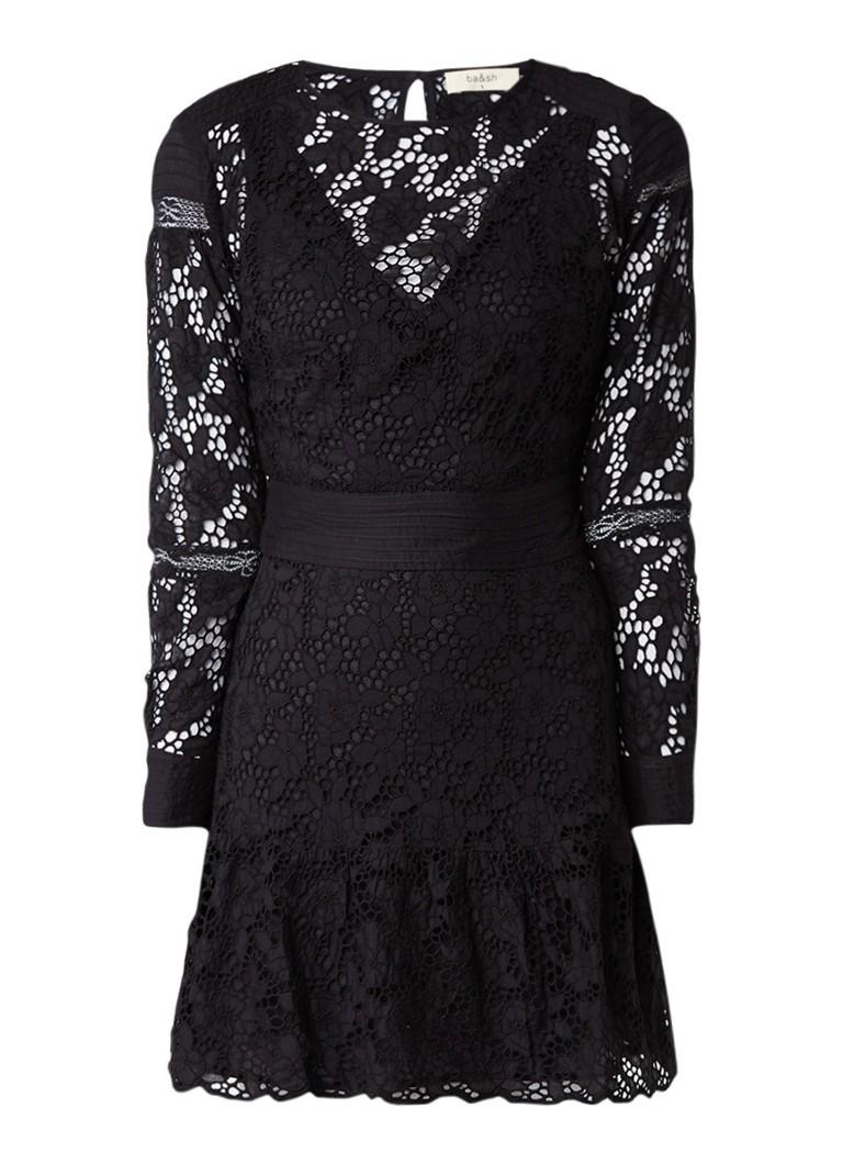 BA&SH Aphrodite A-lijn jurk met broderie zwart