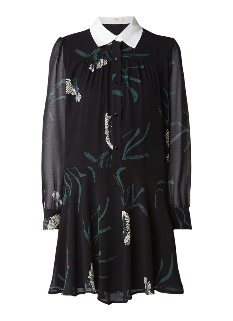 BA&SH Ralder chiffon blousejurk met dessin en contrasterende kraag zwart