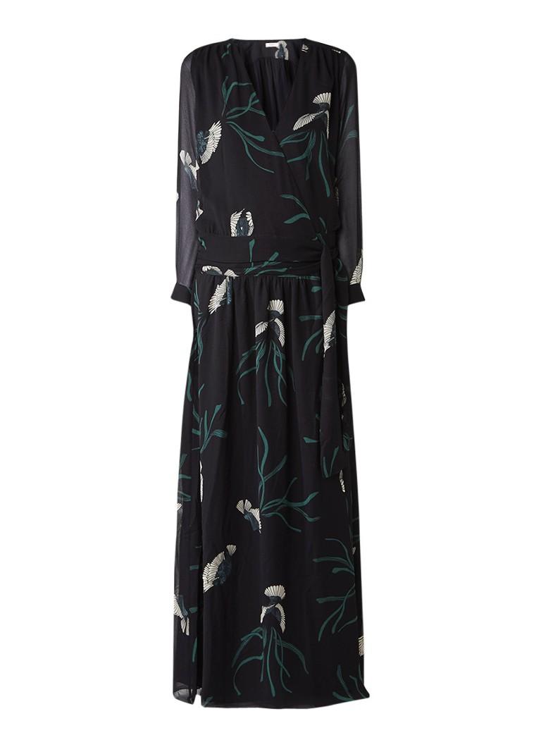 BA&SH Reda semi-transparante maxi-jurk met overslag en bloemendessin zwart