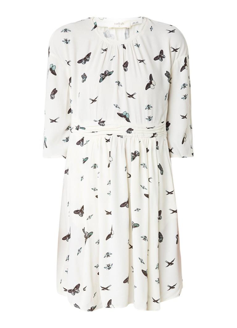 BA&SH Bunkie oversized jurk van crêpe met vlinderprint gebroken wit