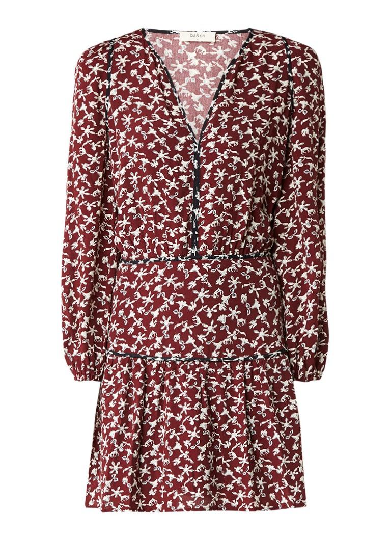 BA&SH Catarina A-lijn jurk met bloemendessin bordeauxrood