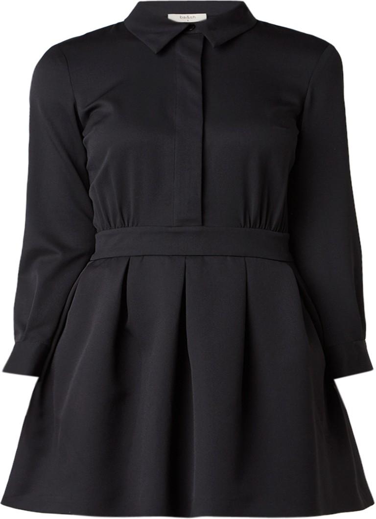BA&SH Taran blousejurk met plooidetail zwart