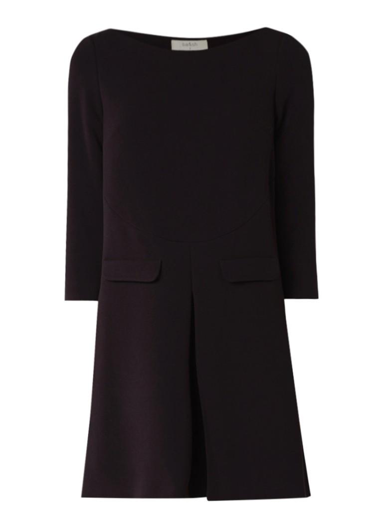 BA&SH Mick mini-jurk met deelnaad en plooidetail zwart