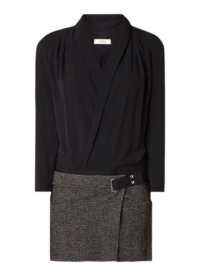 BA&SH Twin jurk met overslag en gemêleerde rok zwart