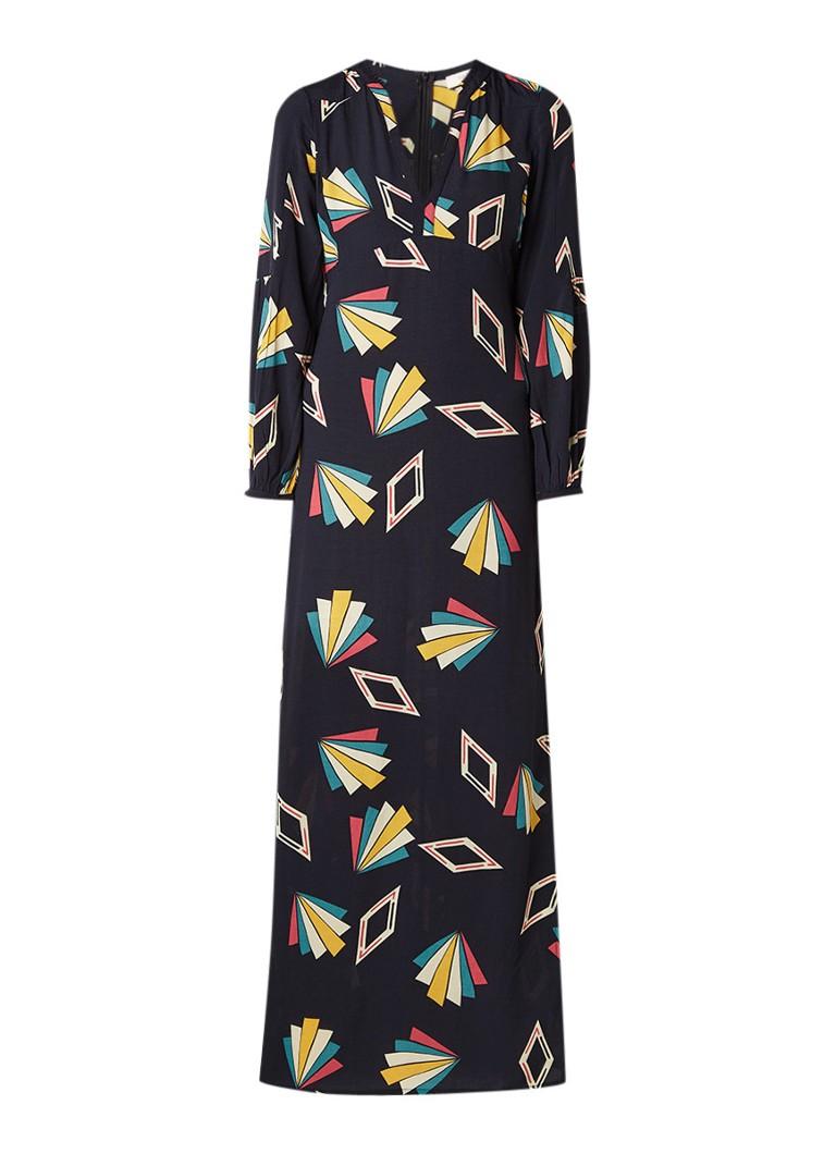 BA&SH Vick maxi-jurk met split en grafisch dessin zwart