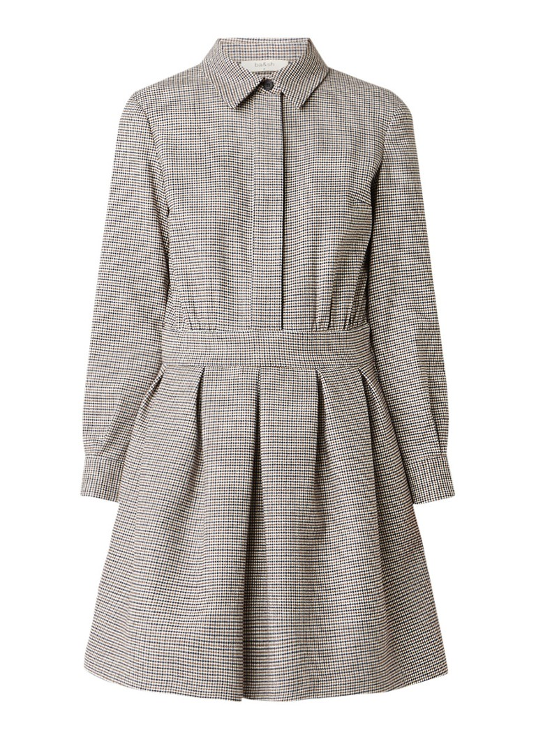 BA&SH Paran A-lijn jurk met pied-de-poule dessin khaki