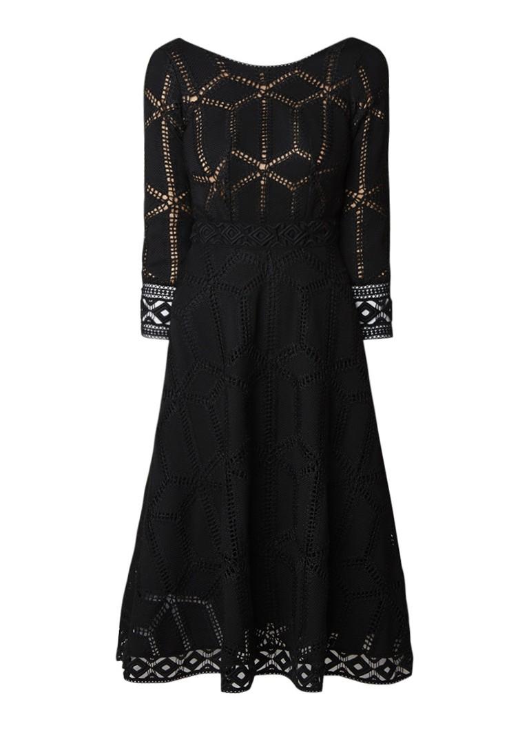 BA&SH Roswell midi A-lijn jurk met opengewerkt dessin zwart