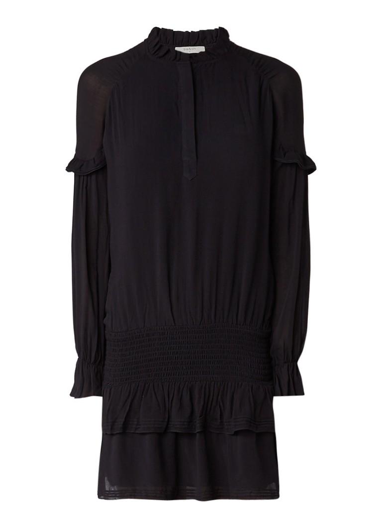 BA&SH Midi-jurk met dropped waist en volant donkerrood