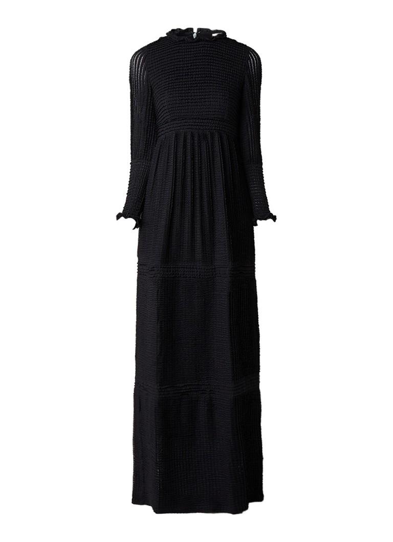 BA&SH Naella maxi-jurk met structuur van ruches zwart