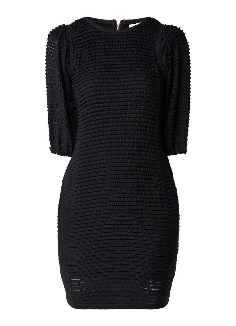 BA&SH Nolita mini-jurk met schoudervulling en structuur van ruches zwart