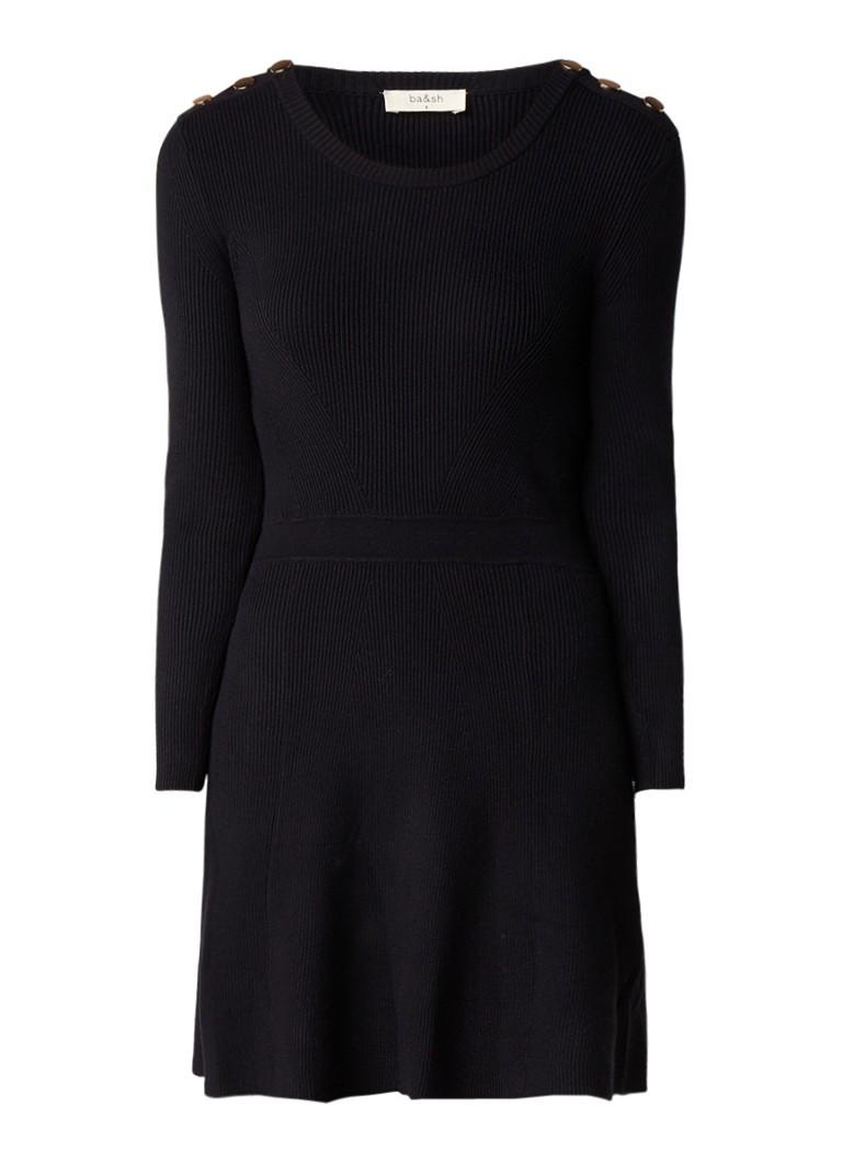 BA&SH Kilim ribgebreide A-lijn jurk met metallic knopen zwart