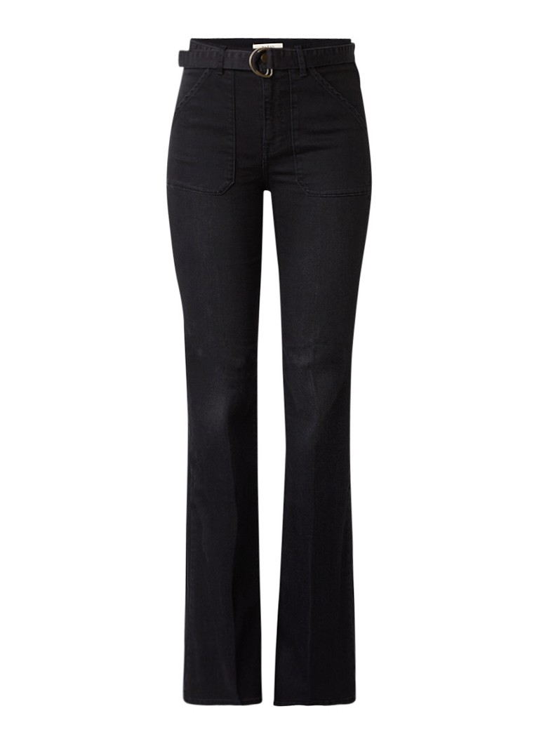 ba and sh Velasko high rise flared jeans met ceintuur