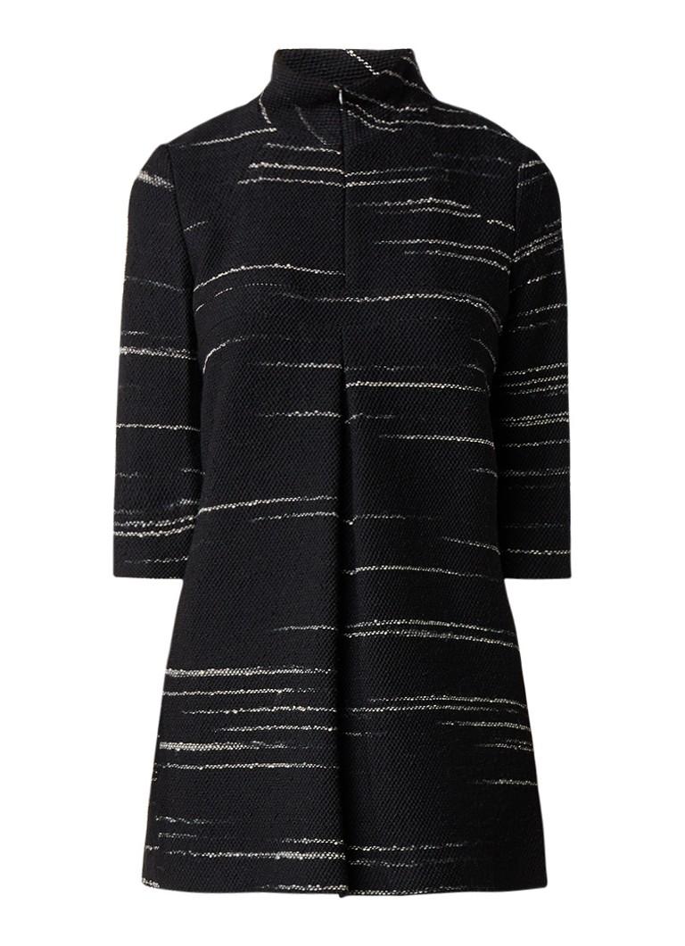 BA&SH Somers mini-jurk met col en streepdessin zwart