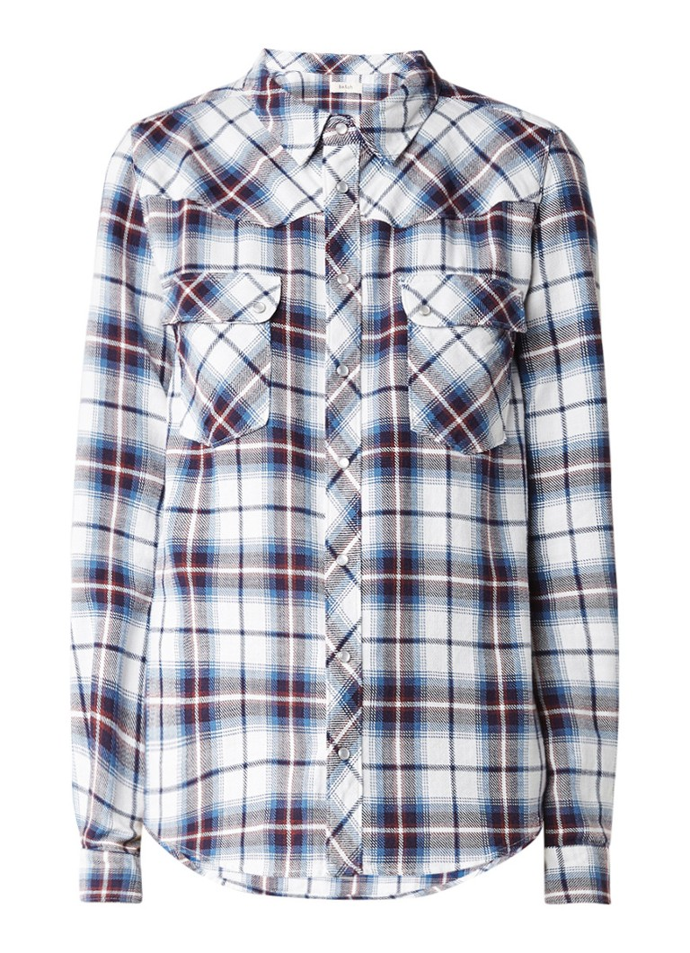 ba and sh Tbridget blouse van katoen met ruitdessin