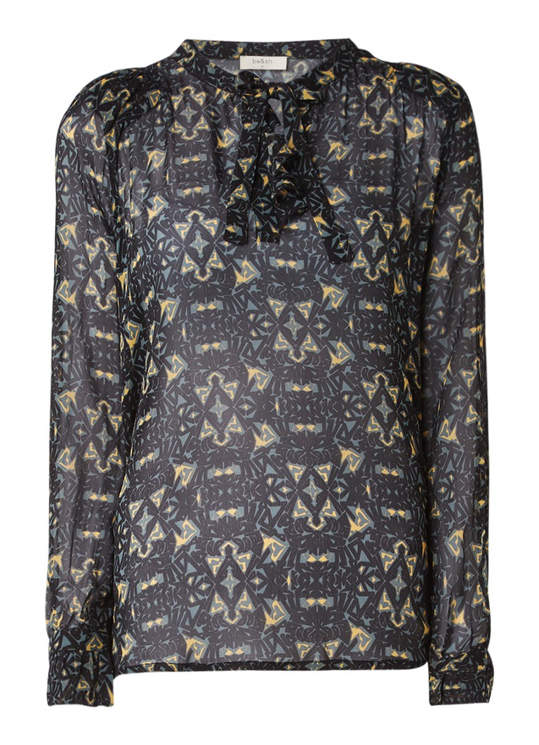 ba and sh Rodeo blouse van chiffon met dessin en ruches