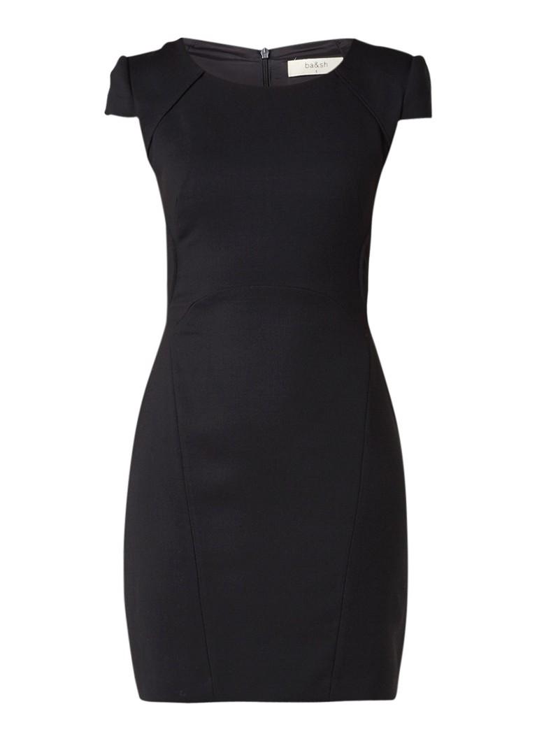 BA&SH Viggy mini-jurk met schoudervulling en siernaden zwart