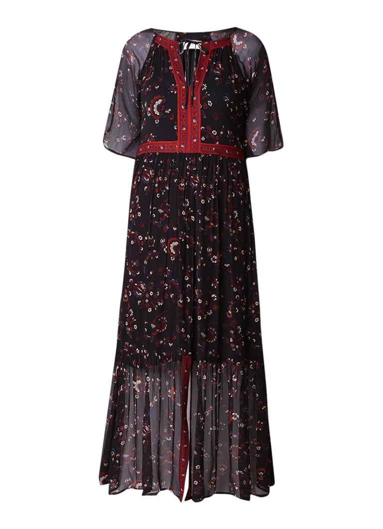 BA&SH Jana semi-transparante maxi-jurk met bloemendessin okergeel
