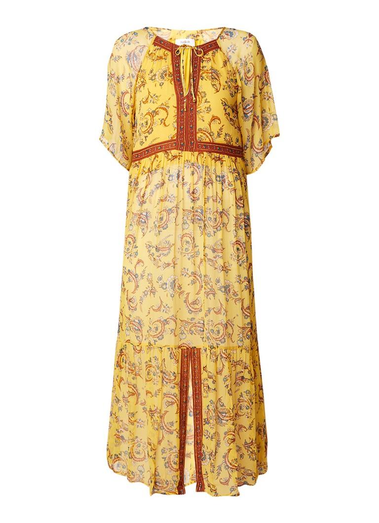 BA&SH Jana semi-transparante maxi-jurk met bloemendessin diepzwart