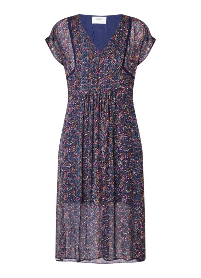 BA&SH Diana Tuniekjurk met bloemendessin en detail van kant royalblauw