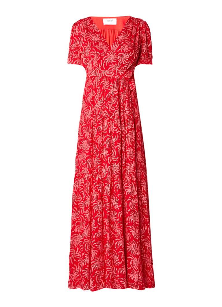 BA&SH Maxi-jurk met overslag en bloemenprint roze