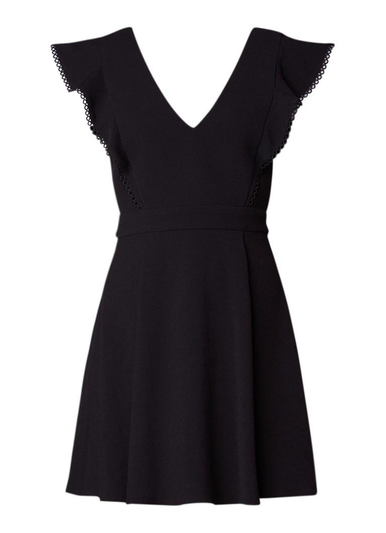 BA&SH Oskia A-lijn jurk van crêpe met geborduurd detail zwart