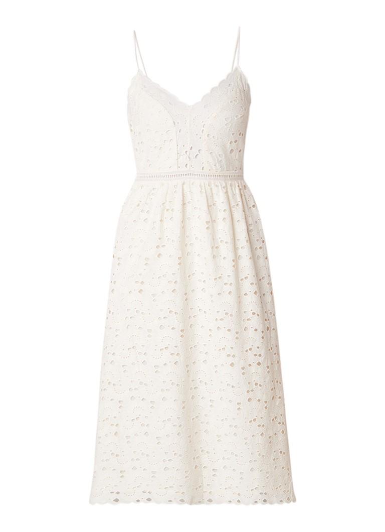 BA&SH Kate A-lijn jurk met broderie gebroken wit