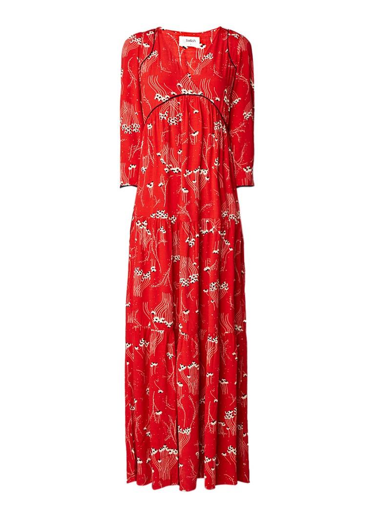 BA&SH Kina maxi-jurk met bloemendessin en driekwartsmouw flessengroen